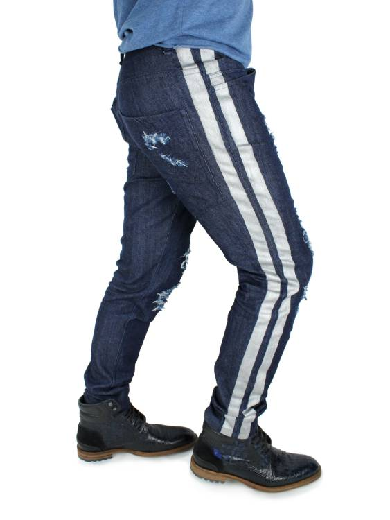 Distressed jeans JOSUA with silver stripes