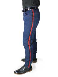 Jeans STEVEN with red-blue stripes along the side seams